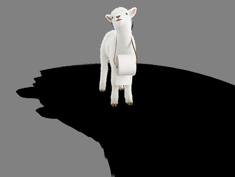 Wc-paperin myynti lammas hymyilee rulla kaulassa